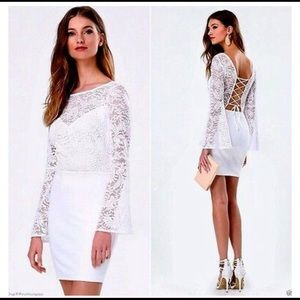 BEBE | White Lace Bodycon Bell Sleeve Mini Dress